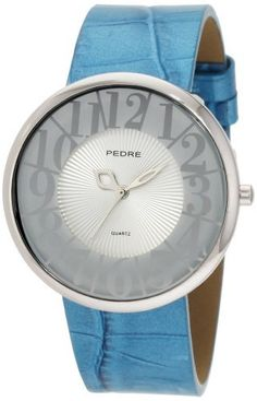 Pedre Women's 6875SX Silver-Tone with Turquoise Glossy Strap Watch Pedre. $75.00. Deluxe gift packaging. Mineral crystal; silver patterned dial. Quality Japanese-quartz movement. Large, easy-to-read numbers. Stainless steel case-back; glossy turquoise crocodile grain genuine leather strap