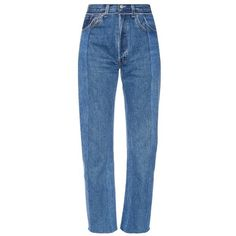 Vetements Slim-fit vintage wash cropped jeans ($1,140) ❤ liked on Polyvore featuring jeans, bottoms, blue, slim fit jeans, high rise jeans, high waisted cropped jeans, slim fit straight leg jeans and blue high waisted jeans
