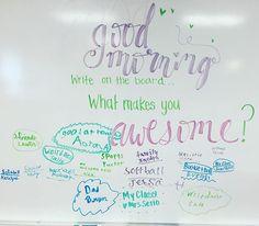 What makes you awesome? #miss5thswhiteboard #weareawesome #teachersfollowteachers