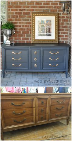 "Dresser Transformed with Amy Howard's One Step Paint. The old dresser was cleaned with Krud Kutter and sanded.  Amy's paint colors Black and Atelier were mixed together then thinned with water for the consistency would work for spraying. It dries very fast! The top coat sprayed on is General Finishes Flat Out Flat (The Woodcraft store guys said it's flatter than the ""matte"" finish of other polycrylics).  Rub 'n Buff was used on the hardware. Feb  2016. http://www.evolutionofstyleblog.com Paint Colors For Furniture, Spray Paint Furniture Without Sanding, Repainting Bedroom Furniture, Sanding Furniture, Blue Painted Furniture, Painting Old Furniture, Furniture Making, Old Dresser Makeovers, Diy Old Furniture Makeover"
