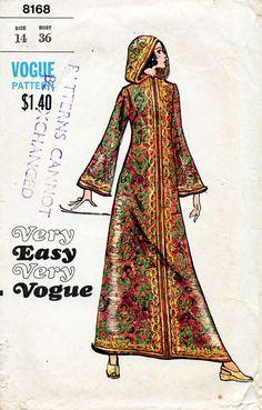1970s Hooded Caftan Pattern Vogue 8168 Vintage by BessieAndMaive