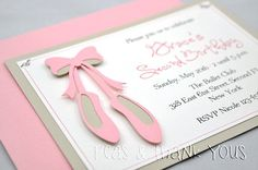 Ballet Slippers Invitation for Girls Ballerina or Dance Theme Birthday Party Ballerina Birthday Parties, Ballerina Party, 3rd Birthday Parties, Birthday Party Invitations, Ballerina Shoes, Birthday Ideas, Ballerina Baby Showers, Fun Party Themes, Party Ideas