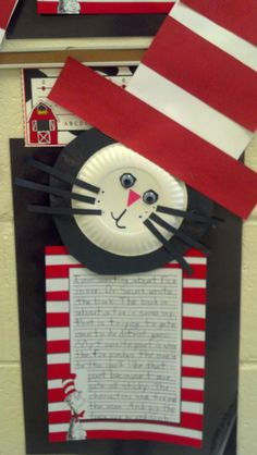 Craftivity - Make cats with students and then have them write book reports about their favorite Dr. Seuss books. Going to do this with several authors.