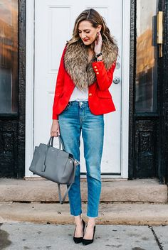 fall / winter - street chic style - street style - fall outfits - winter outfits - casual outfits - red blazer + brown fur stole + white cami top + crop jeans + black heels + grey handbag