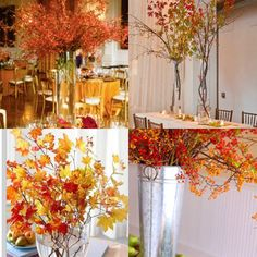fall wedding... autumn branch centerpieces