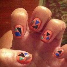 Nail Art with painted cut-out scotch tape:)