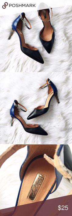 Halogen color block ankle strap heels Halogen color block ankle strap heels, size 10. Cobalt, black and python print. Mild wear on the soles, uppers are in excellent condition. Halogen Shoes Heels