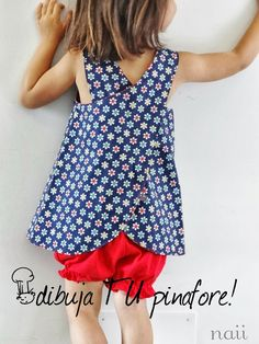 Tutorial on how to draw your own pinafore pattern Sewing Patterns For Kids, Sewing For Kids, Baby Sewing, Free Sewing, Toddler Dress, Baby Dress, Sewing Clothes, Diy Clothes, Sewing Hacks