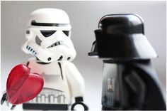 Darth Vader Storm Trooper Heart Card features a stormtrooper holding a heart and ready to give it to Darth Vader, the characters are LEGO characters. Star Wars Love, Star War 3, Star Wars Art, Lego Star Wars, My Funny Valentine, Valentines, Legos, Lego Stormtrooper, Starwars Lego