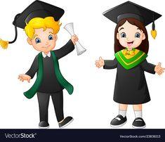 Cartoon happy kid in graduation costume Royalty Free Vector