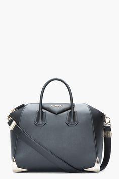 GIVENCHY Medium Matte Black Leather Metal-Bumper Duffle Bag