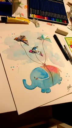 Babyelephant Elefant Origami Aquarell Kunst diy art