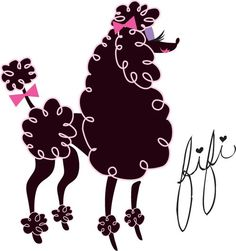 A fluffy black poodle! Original Art by Claudette Barjoud, a.k.a Miss Fluff. www.missfluff.com