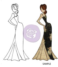 Prima - Cling Mounted Rubber Stamp - Mixed Media Dolls - Tasha Doll with Evening Dress by Julie Nutting,$6.99