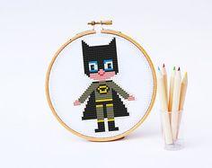 BATMAN Cross stitch Pattern PDF   Boy Girl Superhero di POWSTITCH