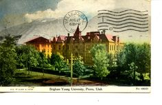 Brigham Young University-College Building-Provo-Utah-1908 Vintage Postcard