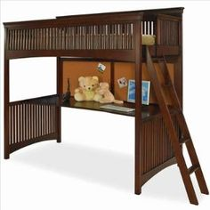Lea Industries Elite Crossover Twin Loft Bed in Burnished Cherry  FREE SHIPPING