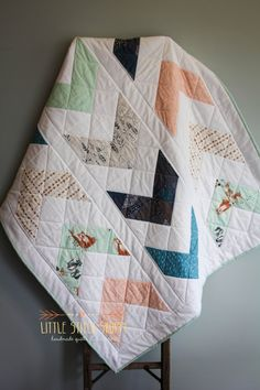 Custom Arrow Quilt, Modern Quilt, Crib Quilt, Baby Quilt, Baby Play Mat- Adventure Awaits