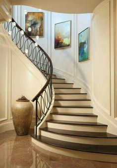 ✔ 50 unique modern staircase design ideas for your dream house 12 Modern Stair Railing, Wrought Iron Stair Railing, Stair Railing Design, Modern Stairs, Iron Balusters, Staircase Railings, Curved Staircase, Staircase Ideas, Railing Ideas