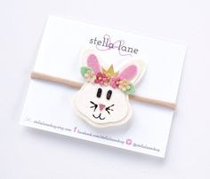 Vintage Bunny Headband or Clip - hair accessories - toddler headband - hair clips - spring bow headband - easter bunny - woodland animals