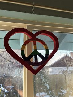 Hanging Heart Art, Heart Dream Catcher, Pride Art, Window Art, Rainbow Peace Sign, Peace Sign, Peace Sign Art, Custom Peace Sign by AmericanGreenCrafts on Etsy