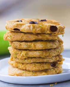 A giant stack of extra fluffy zucchini pancakes - with melty gooey chocolate chips in each bite. These disappear quickly every time I make them: http://chocolatecoveredkatie.com/2015/08/10/zucchini-pancakes-healthy-vegan/