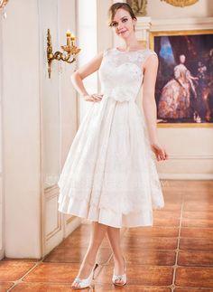 Forme Princesse Col rond Longueur mollet Satiné Dentelle Robe de mariée avec Emperler Fleur(s) Sequins (002047375) - JenJenHouse