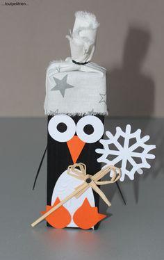 #bricolage #hiver #enfant Pingouin en bois, papier, tissu www.toutpetitrien.ch - fleurysylvie