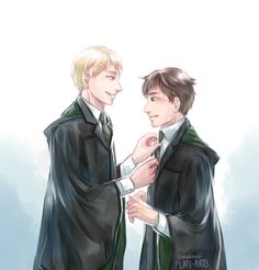 """Your tie is crooked. I didn't notice --"" ""You should straighten it."" Scorpius looking after his smol bf is everything i need *lies down* Scorpius And Albus, Albus Severus Potter, Harry Potter Draco Malfoy, Harry Potter Drawings, Harry Potter Ships, Harry Potter Fan Art, Harry Potter Universal, Harry Potter Fandom, Harry Potter World"