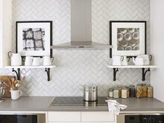 White subway tiles with pale gray grout sarah richardson design via. kitchen white subway tiles with pale gray grout sarah richardson design via: white subway tiles with pale gray grout sarah richardson design via. Herringbone Subway Tile, Beveled Subway Tile, White Subway Tile Backsplash, Subway Tile Kitchen, Kitchen Backsplash, Herringbone Pattern, Backsplash Ideas, Backsplash Design, Chevron Tile