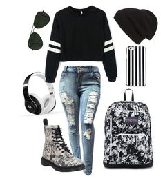 """A darker shade of me"" by dn8-35 ❤ liked on Polyvore featuring Dr. Martens, Phase 3, MICHAEL Michael Kors, Ray-Ban and Beats by Dr. Dre"