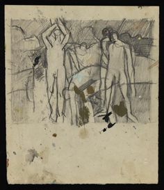Keith Vaughan 'Drawing of figures moving boulders',