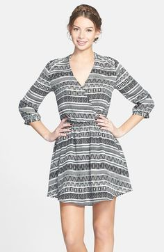 Free shipping and returns on Lush 'Kendal' Print Surplice Faux Wrap Dress (Juniors) at Nordstrom.com. A banded neck and cuffs add chic sophistication to a faux-wrap dress with a soft, flowy silhouette.