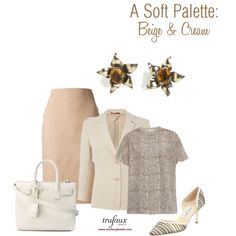 A Soft Palette: Beige & Cream by trufaux on Polyvore featuring Golden Topaz & Vermeil Sterling Flower Retro Modern Earrings from TruFaux Jewels.