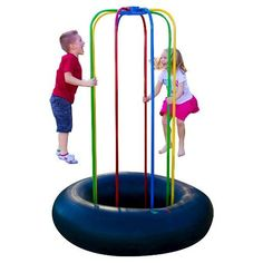 The Jungle JumpaRoo is perfect for backyards, indoor playrooms, pre-schools, daycare centers and playgrounds. The Jungle Jumparoo is ideal for both indoors and outdoors. The metal steel poles are painted with a special powder coating that insures a rust-free and weather resistant frame. This allows for a longer lasting and durable product. The inner tube is also weather resistant and is acceptable to place in homes, on carpet, hard flooring or outside. The Jungle Jumparoo Sprinkler and Swing…