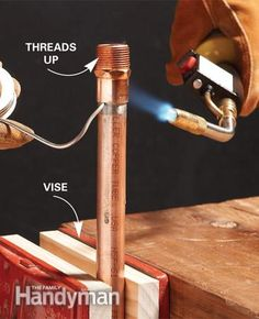 There's a right way to solder copper pipe—and a wrong way. Learn the difference so that your next bathroom or kitchen plumbing project is successful. Copper Pipe Fittings, Plumbing Pipe, Copper Pipes, Soldering Copper Pipe, Soldering Jewelry, Galvanized Steel Pipe, Bidet, Diy Home Repair, Dibujo