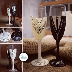 #wedding #diy #vintage #weddinggift #gift #present #glass #sparklingwine
