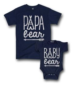 Navy Papa Bear & Baby Bear Tee & Bodysuit - Infant & Men | zulily