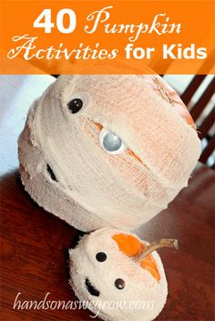 40 Pumpkin Activities for Kids. Pumpkin activities, learning activities with pumpkins, kid-friendly decorating ideas for pumpkins, and even what to do with the insides (seeds and guts! Wait for kids. Theme Halloween, Halloween Activities, Holidays Halloween, Halloween Treats, Halloween Pumpkins, Happy Halloween, Halloween Decorations, Activities For Kids, Learning Activities
