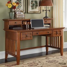 Home Styles Arts & Crafts Executive Desk With Hutch Home Office Desks, Home Office Furniture, Furniture Sale, Studio Furniture, Office Items, Metal Furniture, Antique Furniture, Furniture Design, Woodworking Desk Plans