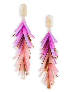 Shop statement earrings at Kendra Scott. With a weightless Blush Mix of hammered metals and acrylic fringe - the Justyne earrings are a must have accessory.