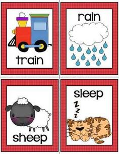 This download contains:  Rhyming Picture Cards with Words 64 cards (32 rhyming pairs)   Rhyming Picture Cards with No Words (both sets of cards can be used for many rhyming activities either whole group or small group.)   Alma Almazan  www.goingbacktokinder.blogspot.com