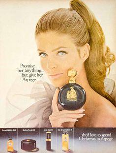 Vintage 1960's Lanvin Arpege Dusting Powder Empty Black Box