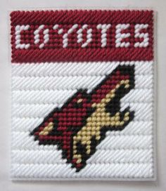 Phoenix Coyotes tissue box cover in plastic canvas PATTERN ONLY by AuntCC for $2.50