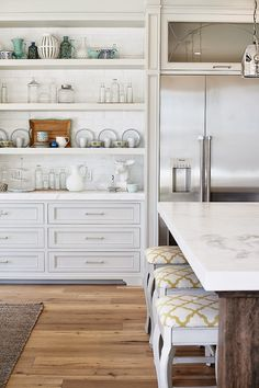 Beautiful open built in shelving. Love the combo drawers & open shelving.  Four Chairs Furniture