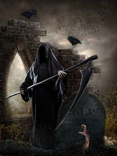 """""""The One, the only Grim Reaper--maybe his face looks dark and scary until we are ready to pass on and then it changes to something kind."""" Lucy Slinky (the quotes part) photo provided by David Thomas Death Reaper, Grim Reaper Art, Don't Fear The Reaper, Dark Gothic, Gothic Art, Dark Fantasy Art, Dark Art, Reaper Tattoo, Death Tattoo"""