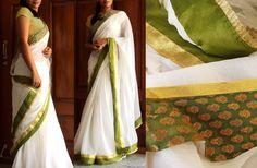May be do this border for my Onam saree? Onam Saree, Kasavu Saree, Kerala Saree, Latest Indian Saree, Indian Sarees, Georgette Sarees, Handloom Saree, Indian Dresses, Indian Outfits