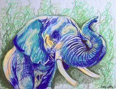 Elephant 8.5x11 pencil crayon drawing ORIGINAL by CojaxCorner, $50.00