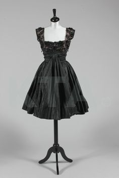 Evening dress by Rahvis, mid-1950's UK Bust is 92cm/36in, waist is 61cm/24in, about a size 12 UK/8 US with a very small waist. Click t...