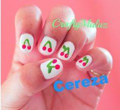 Tutorial:♥ Diseño de uñas fáciles de Cereza / Nail art Tutorial/ Easy Na...